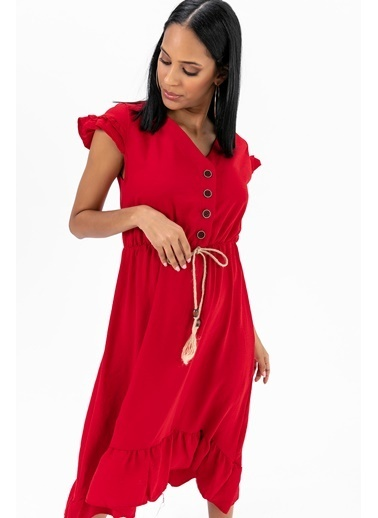 Emjey Eteği Kloş Uzun Elbise Kırmızı